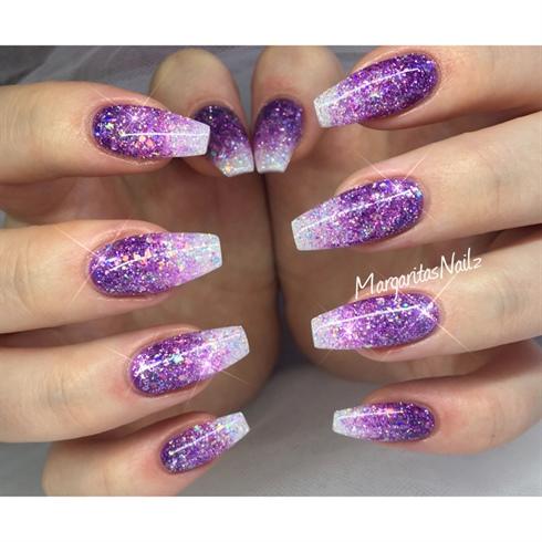 Purple Glitter Ombr Nails Nail Art Gallery