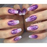 Purple Glitter Ombré Nails