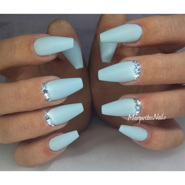 Baby Blue Coffin Nails Nail Art Gallery
