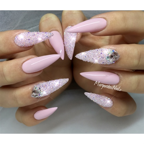 Pink Bling Stiletto Nails - Pink Bling Stiletto Nails - Nail Art Gallery