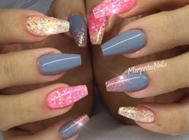 nail art: Gray And Pink