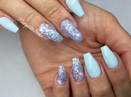 nail art: Baby Blue Coffin Nails