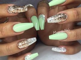 nail art: Pastel Green Coffin Nails