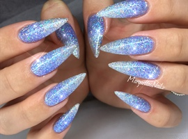 nail art: Blue Glitter Ombré Stiletto Nails