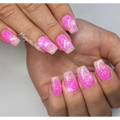 Pink Glitter Ombré Nails