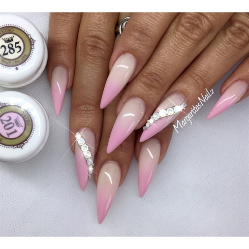 Pink Ombré Stiletto Nails