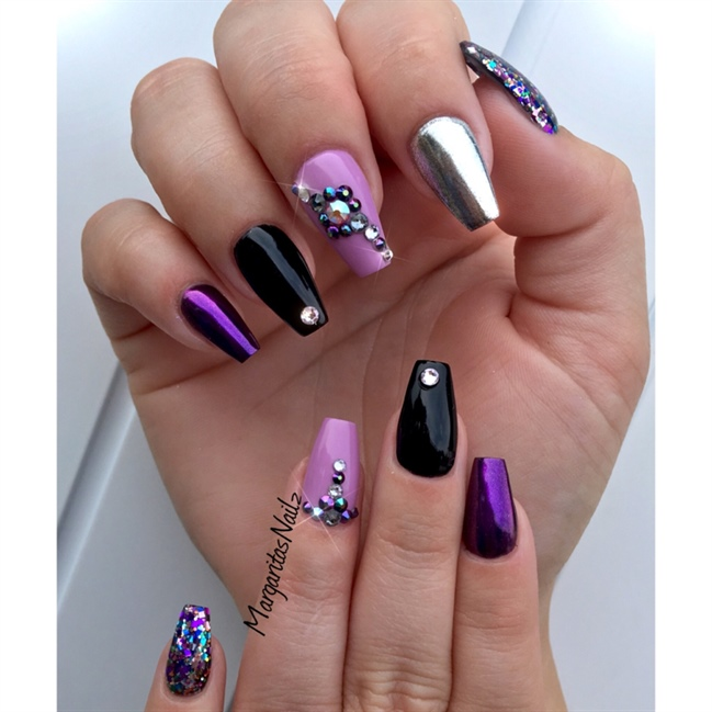 Black And Purple Coffin Nails - Nail Art Gallery Purple And Black Nail Art Photos
