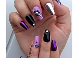 nail art: Black And Purple Coffin Nails