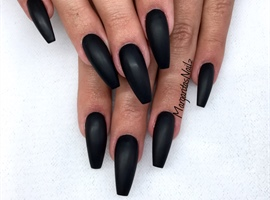 Black Matte Coffin Nails