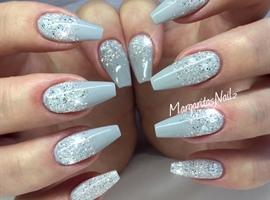 nail art: Grey Glitter Ombré Coffin Nails