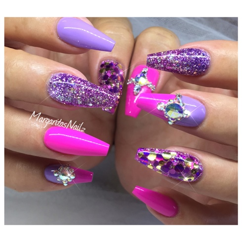 Pink and purple coffin nails nail art gallery pink and purple coffin nails prinsesfo Images