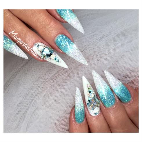 Ocean Blue Glitter Ombré Stilettos