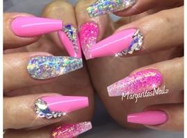 nail art: Pink Coffin Nails Glitter Ombré