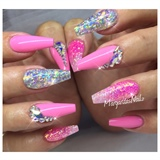 Pink Coffin Nails Glitter Ombré