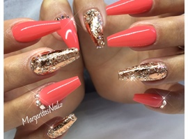 nail art: Rose Gold Coffin Nails
