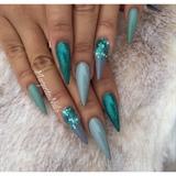 Grey Glitter Ombré Stiletto Nails