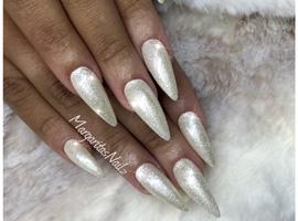White Pearl Almond Nails