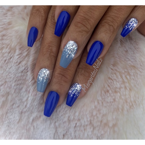 Blue And Silver Nails - Blue And Silver Nails - Nail Art Gallery