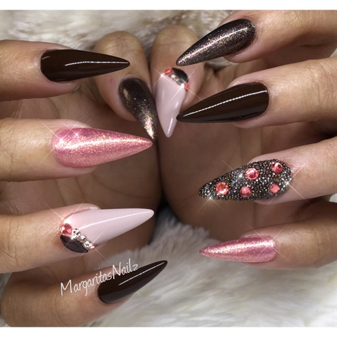 Chocolate And Rose Almond Nails