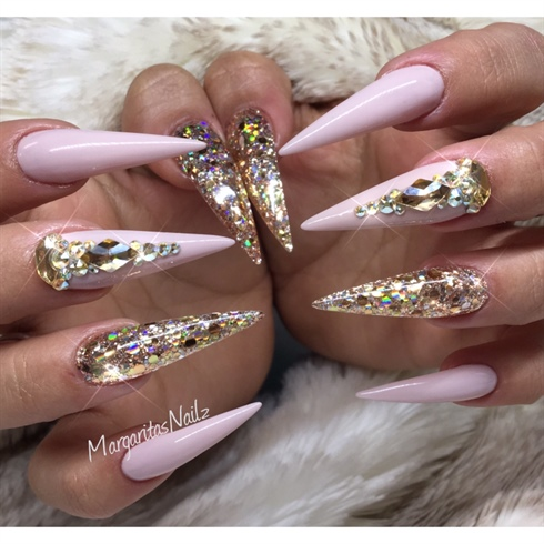 Nude Pink And Gold Stilettos