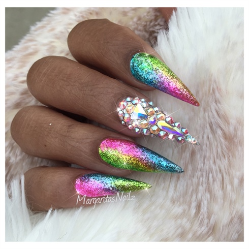 Spring Bling Stiletto Nails
