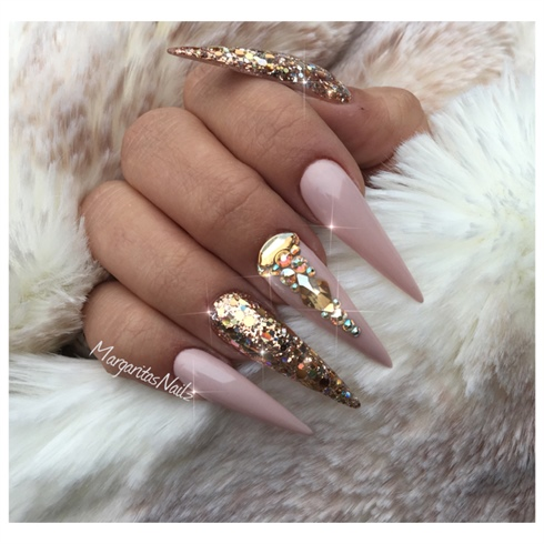 Nude And Gold Stiletto Nails