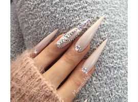 Nude Bling Stiletto Nails