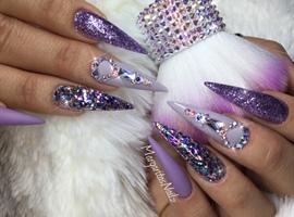 Purple Bling Stiletto Nails