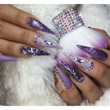 Purple Bling Stiletto Nails