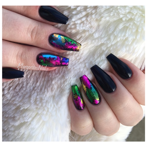 Spring Coffin Nails - Nail Art Gallery