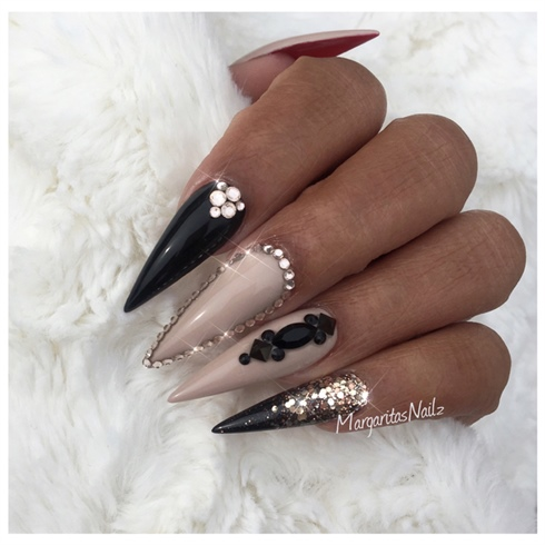 Black And Nude Stiletto Nails Nail Art Gallery