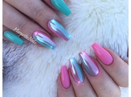 Mint Green And Pink Chrome Ombré