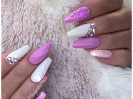 White And Lavender Coffin Nails