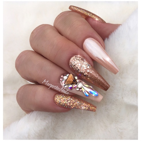 Rose Gold Coffin Nails Nail Art Gallery