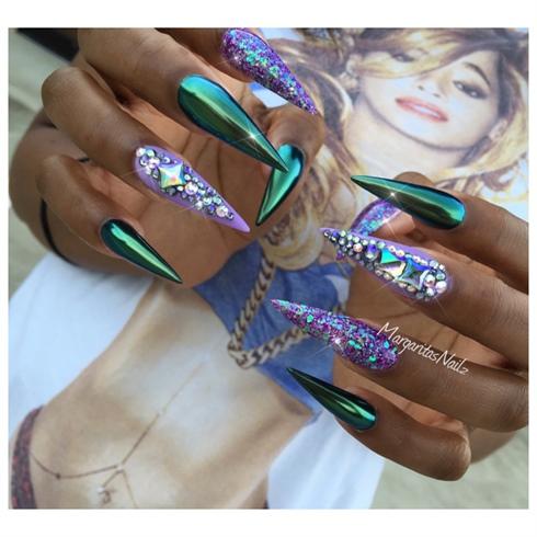 green chrome stiletto nails  nail art gallery