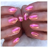 Pink Coral Chrome Nails