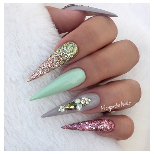 Pastel Green And Rose Gold Stilettos
