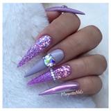 Purple Glitter And Chrome Stilettos