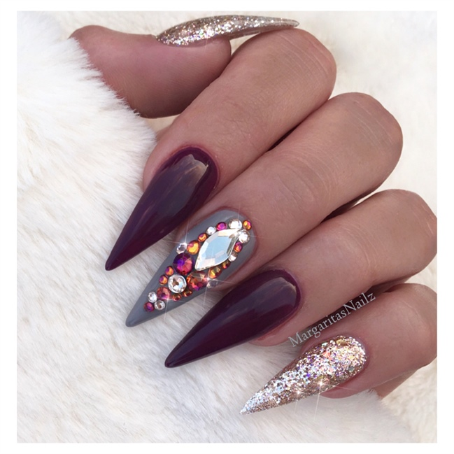 Nail art gallery burgundy nail art photos burgundy and rose gold stilettos prinsesfo Image collections