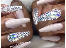 nail art: Nude Long Coffin Nails