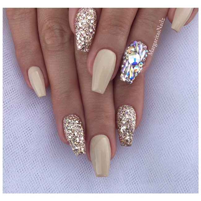 Nude Bling Coffin Nails - Nail Art Gallery