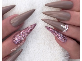 Dark Nude And Glitter Stilettos