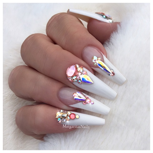 White Bling Coffin Nails