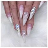 Glitter Ombré White Bling Stilettos