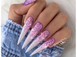 nail art: Lavender Glitter Ombré Stiletto Nails
