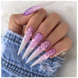 Lavender Glitter Ombré Stiletto Nails
