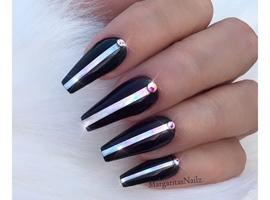 Black Silver Stripe Coffin Nails
