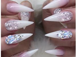 White Ombré Bling Stiletto Nails