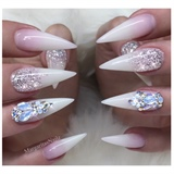 White Ombré Bling Stiletto Nails