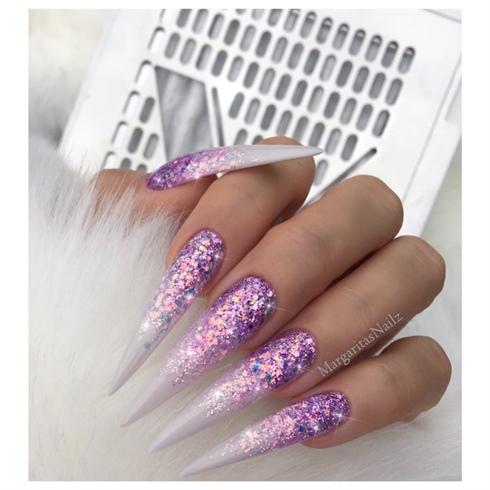 Lilac Glitter Ombré Stilettos
